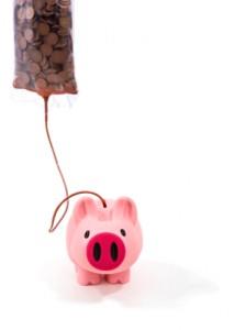 Piggy Bank on an IV of pennies
