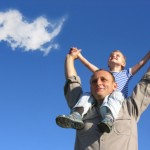 grandfather and grandson with cloud