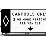 Overhead Freeway Carpool Only Sign Isolated