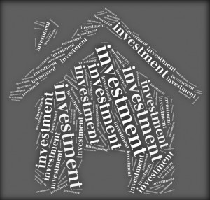 Tag or word cloud investment related in shape of house