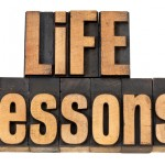 life lessons - text in wood type
